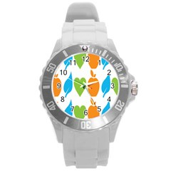 Fruit Apple Orange Green Blue Round Plastic Sport Watch (L)
