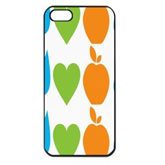 Fruit Apple Orange Green Blue Apple iPhone 5 Seamless Case (Black)