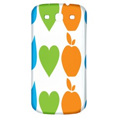 Fruit Apple Orange Green Blue Samsung Galaxy S3 S III Classic Hardshell Back Case