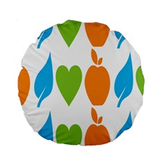Fruit Apple Orange Green Blue Standard 15  Premium Round Cushions