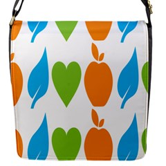 Fruit Apple Orange Green Blue Flap Messenger Bag (S)