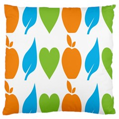 Fruit Apple Orange Green Blue Large Flano Cushion Case (Two Sides)