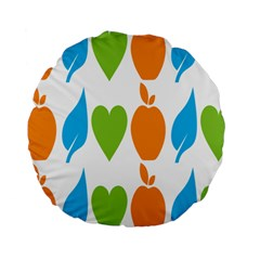 Fruit Apple Orange Green Blue Standard 15  Premium Flano Round Cushions