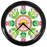 Flower Floral Sunflower Sakura Star Leaf Wall Clocks (Black) Front