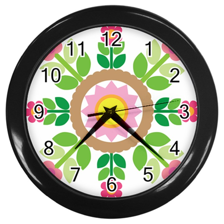 Flower Floral Sunflower Sakura Star Leaf Wall Clocks (Black)