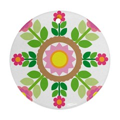 Flower Floral Sunflower Sakura Star Leaf Round Ornament (Two Sides)