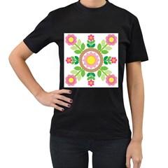 Flower Floral Sunflower Sakura Star Leaf Women s T-Shirt (Black)