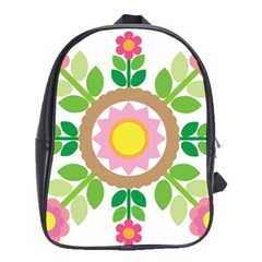 Flower Floral Sunflower Sakura Star Leaf School Bags (XL)