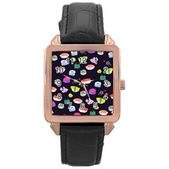 Japanese Food Sushi Fish Rose Gold Leather Watch