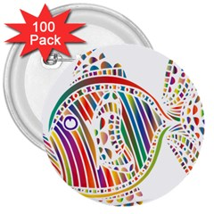 Colorful Fish Animals Rainbow 3  Buttons (100 pack)