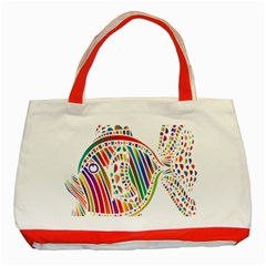 Colorful Fish Animals Rainbow Classic Tote Bag (Red)