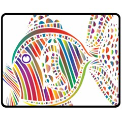 Colorful Fish Animals Rainbow Fleece Blanket (Medium)