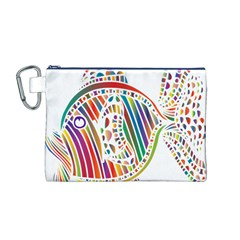 Colorful Fish Animals Rainbow Canvas Cosmetic Bag (M)