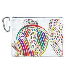 Colorful Fish Animals Rainbow Canvas Cosmetic Bag (L)