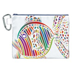 Colorful Fish Animals Rainbow Canvas Cosmetic Bag (XXL)