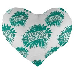 Happy Easter Theme Graphic Large 19  Premium Flano Heart Shape Cushions