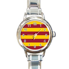 Oswald s Stripes Red Yellow Round Italian Charm Watch