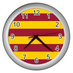Oswald s Stripes Red Yellow Wall Clocks (Silver)