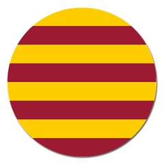 Oswald s Stripes Red Yellow Magnet 5  (Round)