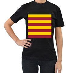 Oswald s Stripes Red Yellow Women s T-Shirt (Black) (Two Sided)
