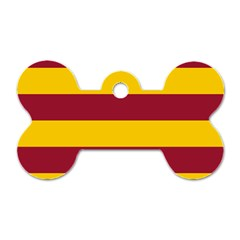 Oswald s Stripes Red Yellow Dog Tag Bone (two Sides)