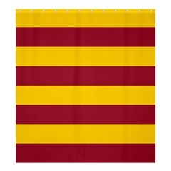 Oswald s Stripes Red Yellow Shower Curtain 66  x 72  (Large)