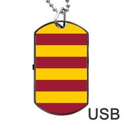 Oswald s Stripes Red Yellow Dog Tag USB Flash (Two Sides)