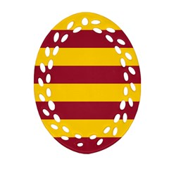 Oswald s Stripes Red Yellow Oval Filigree Ornament (Two Sides)