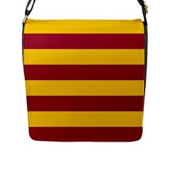 Oswald s Stripes Red Yellow Flap Messenger Bag (L)