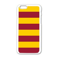 Oswald s Stripes Red Yellow Apple iPhone 6/6S White Enamel Case