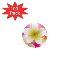 Frangipani Flower Floral White Pink Yellow 1  Mini Magnets (100 pack)