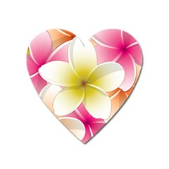 Frangipani Flower Floral White Pink Yellow Heart Magnet