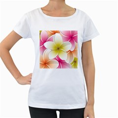 Frangipani Flower Floral White Pink Yellow Women s Loose-Fit T-Shirt (White)
