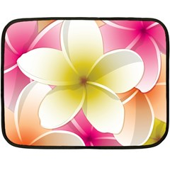 Frangipani Flower Floral White Pink Yellow Fleece Blanket (Mini)
