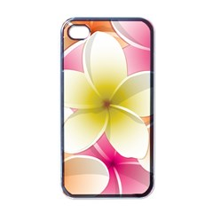 Frangipani Flower Floral White Pink Yellow Apple iPhone 4 Case (Black)