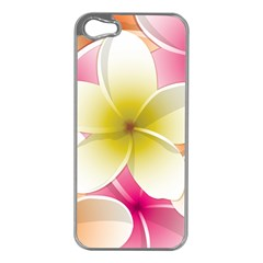Frangipani Flower Floral White Pink Yellow Apple iPhone 5 Case (Silver)