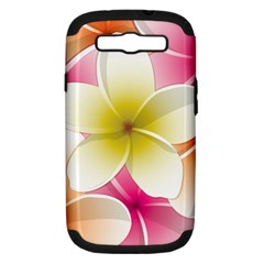 Frangipani Flower Floral White Pink Yellow Samsung Galaxy S III Hardshell Case (PC+Silicone)