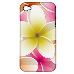 Frangipani Flower Floral White Pink Yellow Apple iPhone 4/4S Hardshell Case (PC+Silicone)