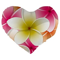 Frangipani Flower Floral White Pink Yellow Large 19  Premium Heart Shape Cushions
