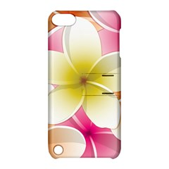 Frangipani Flower Floral White Pink Yellow Apple iPod Touch 5 Hardshell Case with Stand