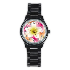 Frangipani Flower Floral White Pink Yellow Stainless Steel Round Watch