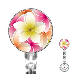 Frangipani Flower Floral White Pink Yellow Stainless Steel Nurses Watch