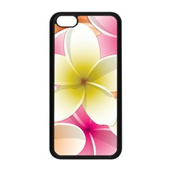 Frangipani Flower Floral White Pink Yellow Apple iPhone 5C Seamless Case (Black)