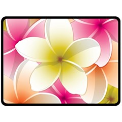 Frangipani Flower Floral White Pink Yellow Double Sided Fleece Blanket (Large)