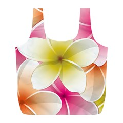 Frangipani Flower Floral White Pink Yellow Full Print Recycle Bags (l)