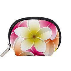 Frangipani Flower Floral White Pink Yellow Accessory Pouches (small)