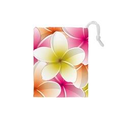 Frangipani Flower Floral White Pink Yellow Drawstring Pouches (Small)