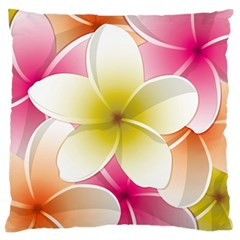 Frangipani Flower Floral White Pink Yellow Large Flano Cushion Case (One Side)