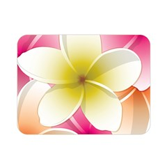 Frangipani Flower Floral White Pink Yellow Double Sided Flano Blanket (Mini)