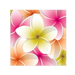 Frangipani Flower Floral White Pink Yellow Small Satin Scarf (Square)